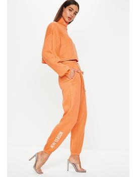 Neon Orange New Season High Waisted Joggers by Missguided