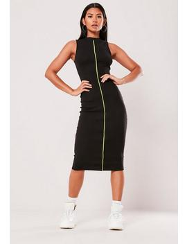 Black Ribbed Contrast Piping Midaxi Dress by Missguided