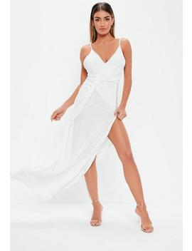 White Slinky Drape Front Maxi Dress by Missguided