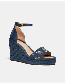 Kit Wedge Espadrille With Floral Bow Print by Coach