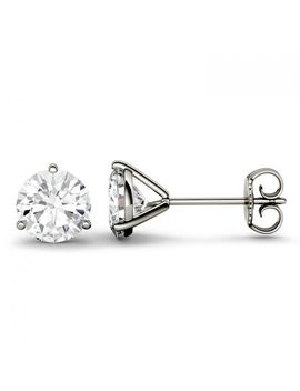 Forever One 2.00 Ctw Round Colorless Moissanite Three Prong Martini Solitaire Stud Earrings In 14 K White Gold by Charles And Colvard