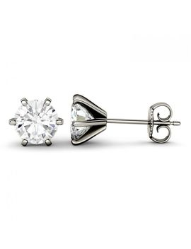 Forever One 1.00 Ctw Round Colorless Moissanite Six Prong Stud Earrings In 14 K White Gold by Charles And Colvard
