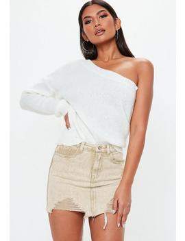Petite Sand Distressed Denim Mini Skirt by Missguided