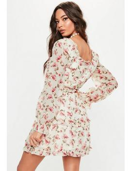 Cream Milkmaid Lace Up Floral Tea Dress by Missguided