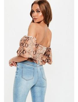 Rust Snake Lace Up Milkmaid Crop Top by Missguided