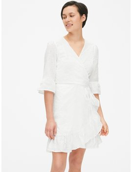 Eyelet Embroidered Ruffle Wrap Dress by Gap