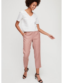 Conan Linen Pant   Cropped, Linen Blend Dress Pant by Babaton