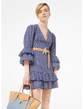 Eyelet Gingham Ruffle Dress by Michael Kors Collection