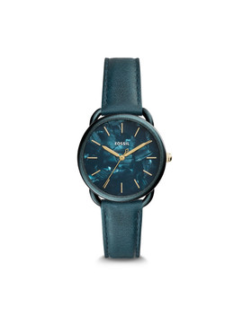 Tailor Three Hand Teal Green Leather Watch by Fossil