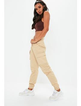 Petite Sand Plain Cargo Trousers by Missguided