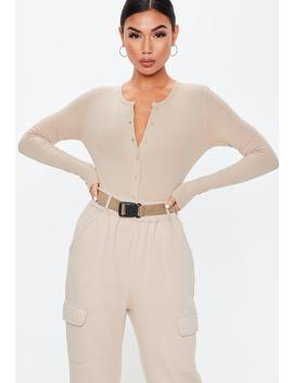 Tall Sand Ribbed Button Front Bodysuit by Missguided