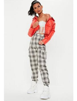 White Washed Check Cargo Joggers by Missguided