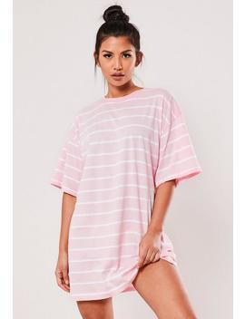 Pink Stripe Short Sleeve T Shirt Dress by Missguided