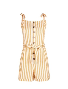 Yellow Linen Striped Playsuit by Dorothy Perkins