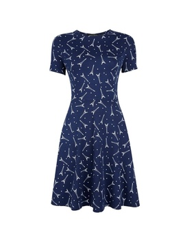 Navy Short Sleeve Eiffel Tower Print Fit And Flare Dress by Dorothy Perkins