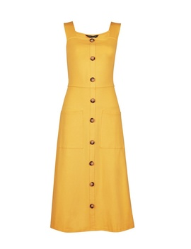 Yellow Belted Button Strap Midi Dress by Dorothy Perkins