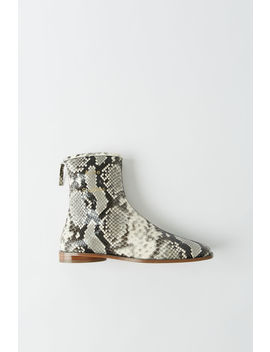 Snakeskin Print Ankle Boots White/Beige by Acne Studios