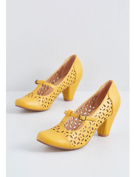 Opting For Intrigue T Strap Heel In Mustard by Chelsea Crew