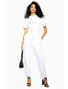 Short Sleeve Denim Boiler Suit by Topshop