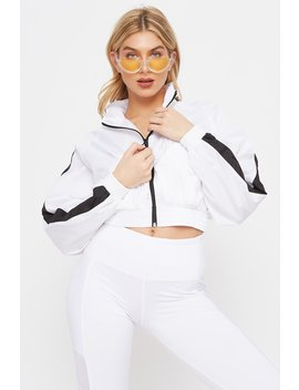 Colour Block Zip Up Cropped Windbreaker by Urban Planet