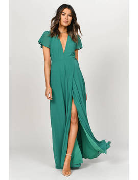 Piper Slate Plunging Maxi Dress by Tobi