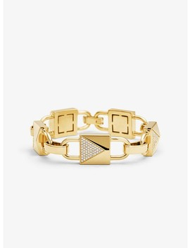14 K Gold Plated Sterling Silver Pavé Large Mercer Link Bracelet by Michael Kors