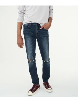 Flex Effects Super Skinny Dark Wash Destroyed Jean by Aeropostale