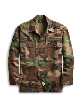 Camo Cotton Shirt Jacket by Ralph Lauren