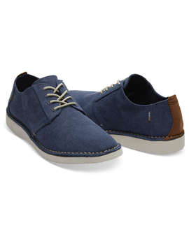 Navy Washed Canvas Stitch Out Mens Preston Dress Shoes by Toms