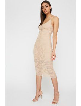 V Neck Ruched Mesh Midi Dress by Urban Planet
