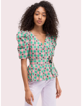 Gingham Spade Blouse by Kate Spade
