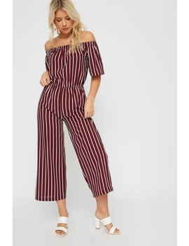 Striped Off The Shoulder Cropped Wide Leg Jumpsuit by Urban Planet