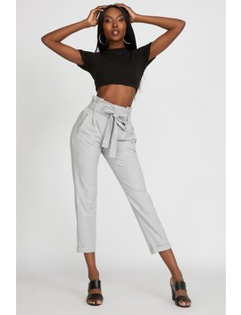 High Rise Paperbag Belted Cropped Pant by Urban Planet