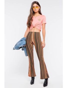 Lovely Vertical Stripe Knit Flare Pant by A'gaci