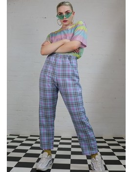 High Waist Tartan Check Trousers In Pastel by Dreaming London