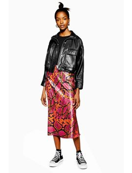 Snake Satin Bias Midi Skirt by Topshop