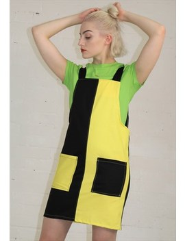 Contrast Pinafore In Black And Yellow by Dreaming London