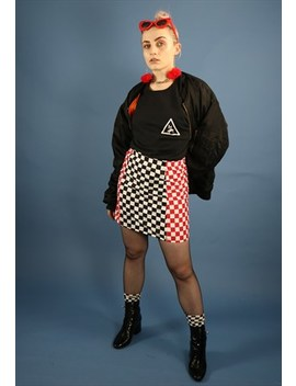 Dreaming Red & Black Checkerboard Panel Skirt by Dreaming London