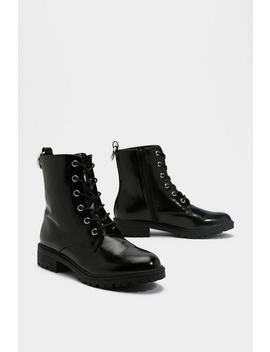 Show 'em The Way Faux Leather Biker Boots by Nasty Gal