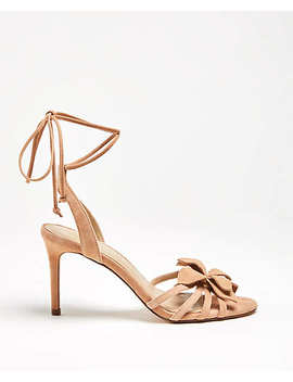 Lillie Flower Suede Heeled Sandals by Ann Taylor