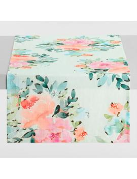 Aqua Peony Print Linen Table Runner by World Market