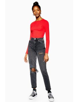 Washed Black Willow Rip Mom Jeans by Topshop