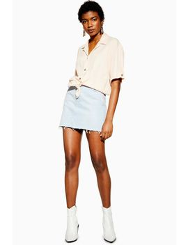 Bleach Wash Denim Mini Skirt by Topshop