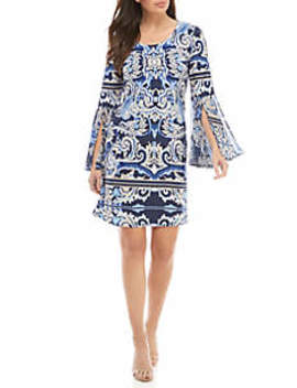 Long Bell Sleeve Woven Dress by Ivy Road