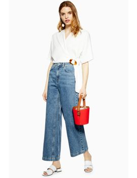 Dirty Mid Blue Crop Wide Leg Jeans by Topshop