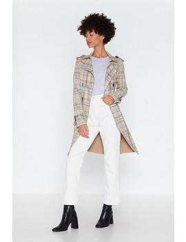 Can You Be Faux Suede Check Trench Coat by Nasty Gal