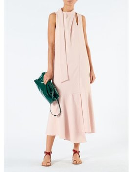 Chalky Drape Pleat Neck Trapeze Dress by Tibi