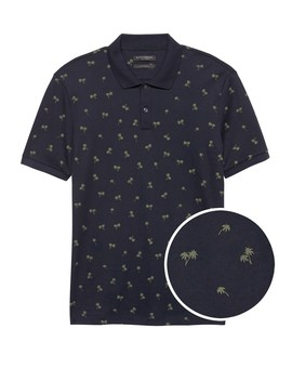 Slim Luxury Touch Palm Print Polo by Banana Repbulic