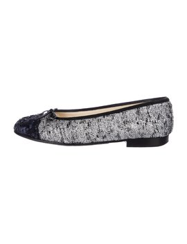 Embellished Cap Toe Flats by Chanel
