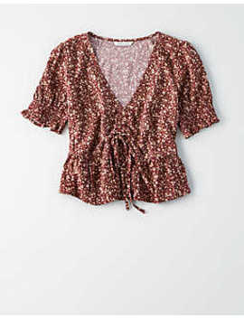 Ae Short Sleeve Printed Blouse by American Eagle Outfitters